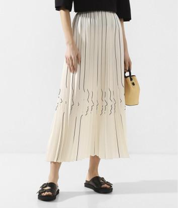 Плиссированная юбка VIVETTA C1115316 кремовая с принтом