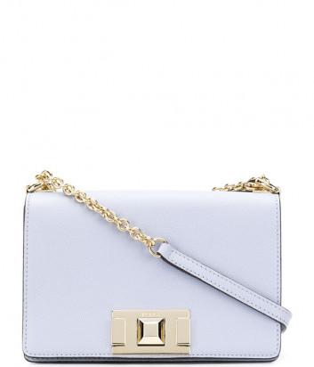 Кожаная сумочка на цепочке Furla Mimi Mini 1007416 с откидным клапаном нежно-голубая