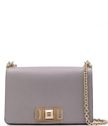 Кожаная сумочка на цепочке Furla Mimi Mini 1031807 с откидным клапаном серая