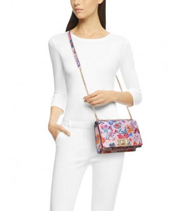 Кожаная сумочка на цепочке Furla Mimi Mini 1045368 с цветочным принтом
