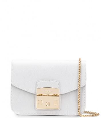 Кожаная сумка на цепочке Furla Metropolis 993864 светло-серая
