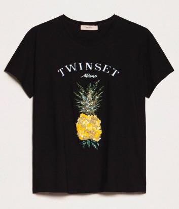 Черная футболка TWIN-SET 201TT250A с логотипом и вышивкой