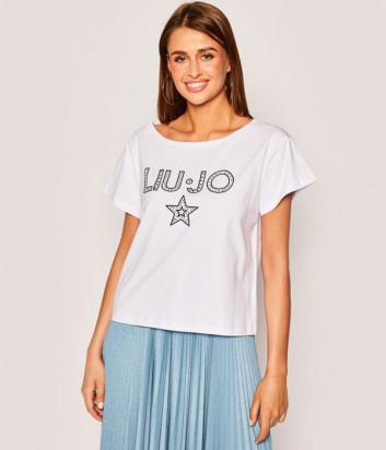 Футболка LIU JO VA0071 с логотипом (в наличии в красном и белом цвете)