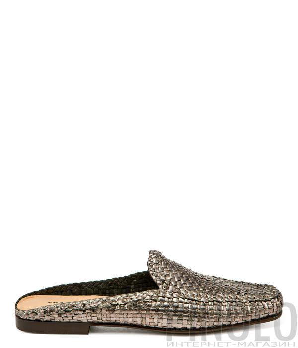 Кожаные сабо FRAU 9681 с плетенной текстурой бронзовые