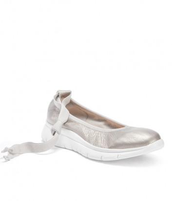 Кожаные балетки FRAU 4265 на танкетке серебристые