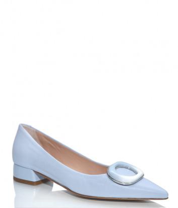 Кожаные туфли NAPOLEONI 3678 с острым носком голубые