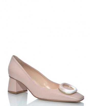 Кожаные туфли NAPOLEONI 5414 с квадратным носком бежевые