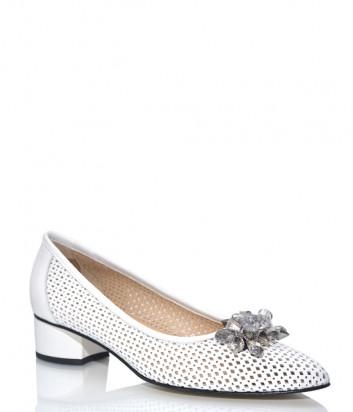 Белые туфли DONNA SOFT 708 в перфорированной коже