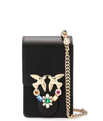 Кожаная сумка PINKO Love Smart Jewels 1P21M5Y на цепочке черная