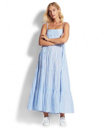 Длинное платье Seafolly 53863-DR в бело-голубую полоску