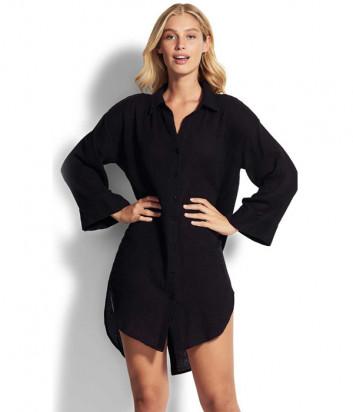 Длинная рубашка Seafolly 53796-TO черная