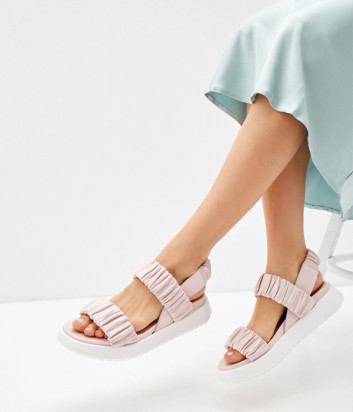 Кожаные сандалии VOILE BLANCHE 0502771 жемчужно-розовые