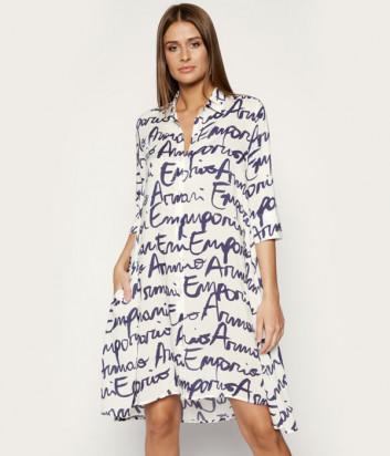 Платье-рубашка EMPORIO ARMANI 252577 OP343 белое с принтом