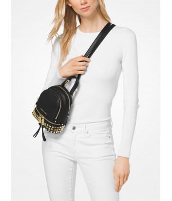 Маленький кожаный рюкзак MICHAEL KORS Rhea 30S8GEZB1T с заклепками черный