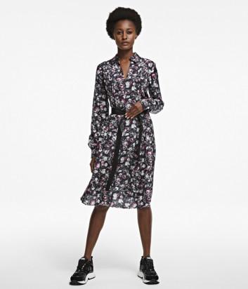 Шелковое платье KARL LAGERFELD 205W1301 с цветочным принтом
