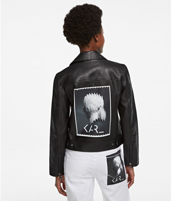 Кожаная куртка-косуха KARL LAGERFELD 205W1902 черная с принтом на спине