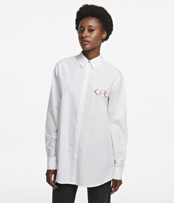 Рубашка KARL LAGERFELD 205W1606 белая с принтом на спине