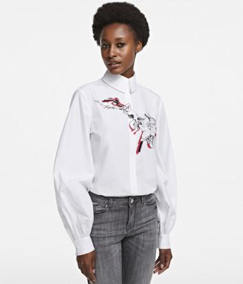 Белая рубашка KARL LAGERFELD 205W1600 с цветочным рисунком