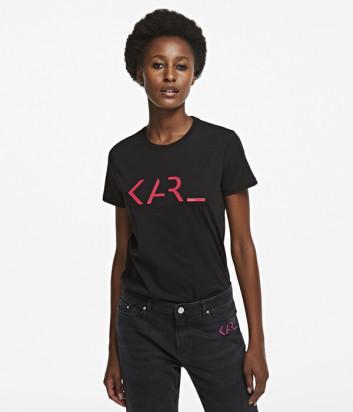 Футболка KARL LAGERFELD 205W1717 черная с логотипом