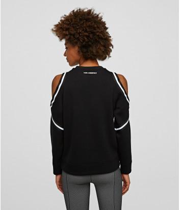 Черная толстовка KARL LAGERFELD 205W1816 с контрастным кантом на плечах