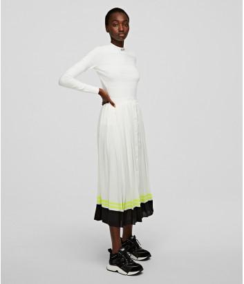 Плиссированная юбка макси KARL LAGERFELD 205W1201 белая с кантом