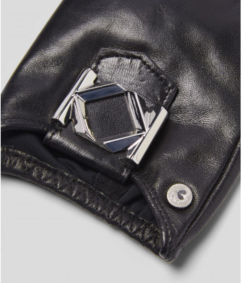 Кожаные митенки KARL LAGERFELD 205W3601 черные