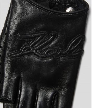 Кожаные митенки KARL LAGERFELD 205W3602 с перфорацией черные