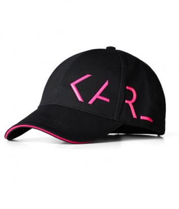 Черная бейсболка KARL LAGERFELD 205W3415 с логотипом цвета фуксии