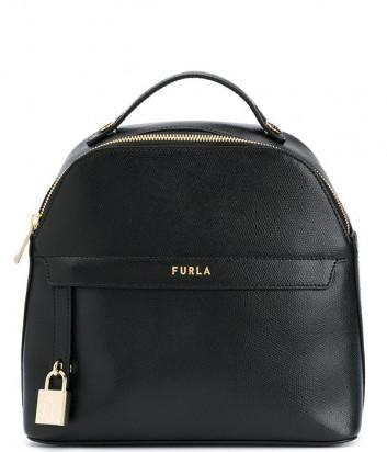 Кожаный рюкзак FURLA PIPER 1057346 с внешним карманом черный