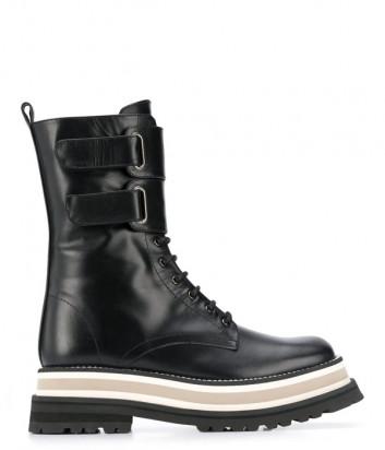 Высокие ботинки PALOMA BARCELO Julia на шнуровке и липучках черные