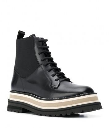 Кожаные ботинки PALOMA BARCELO Ayacu на шнуровке и платформе черные
