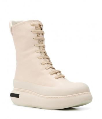 Кожаные ботинки PALOMA BARCELO 0156FOZ на шнуровке и платформе бежевые