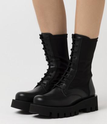 Высокие кожаные берцы PALOMA BARCELO Porto на шнуровке с резинкой черные