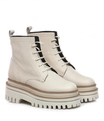 Кожаные ботинки PALOMA BARCELO Fethiye на шнуровке и платформе бежевые