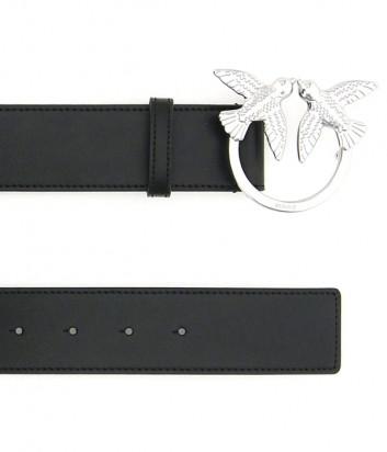 Широкий кожаный ремень PINKO Love 1H20S5 черный с серебристой фурнитурой