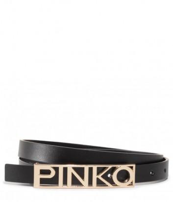 Узкий кожаный ремень PINKO 1H20RE черный с золотистой фурнитурой