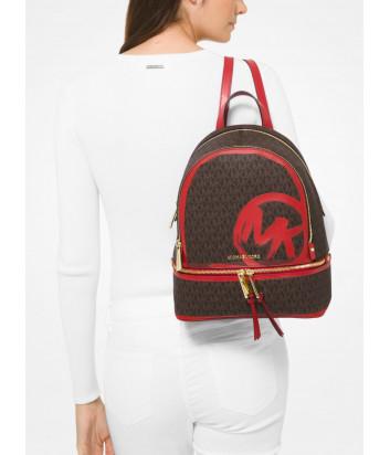 Рюкзак MICHAEL KORS Rhea Logo Medium 30S0GEZB2B коричневый с красным принтом