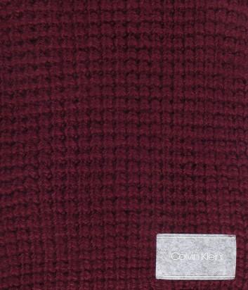 Шарф CALVIN KLEIN K60K604739 крупной вязки бордовый