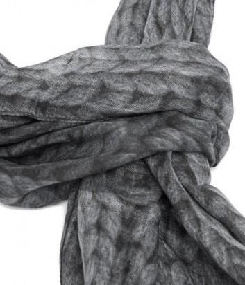 Шарф FURLA из смеси модала и кашемира серый с принтом
