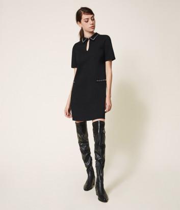 Платье TWIN-SET 202TP251A декорированное кристаллами черное