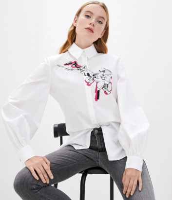 Белая рубашка KARL LAGERFELD 205W1600 с принтом орхидеи