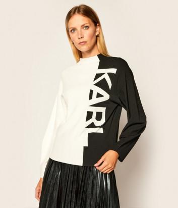 Комбинированный свитер KARL LAGERFELD 205W2003 черно-белый