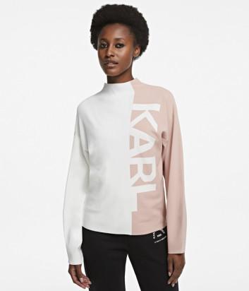 Комбинированный свитер KARL LAGERFELD 205W2003 пудрово-белый