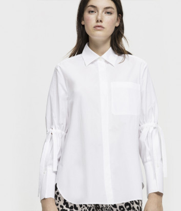 Белая рубашка LUISA CERANO 218167 с завязками на рукавах
