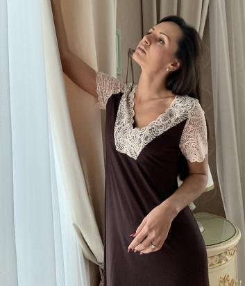 Ночная сорочка EFFETTO 0276B коричневая с кремовым кружевом