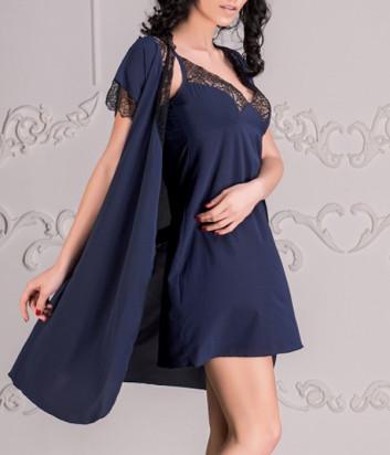 Комплект EFFETTO 0617+0618 халат и сорочка синий