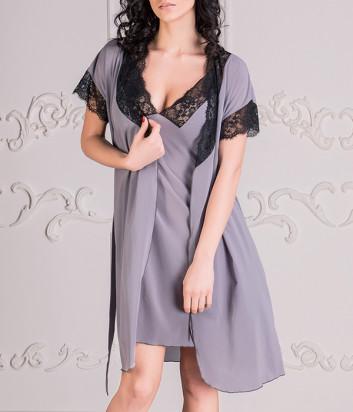 Комплект EFFETTO 0617+0618 халат и сорочка серый