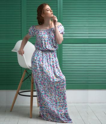 Длинное пляжное платье EFFETTO 0117 белое с цветочным принтом