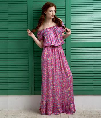Длинное пляжное платье EFFETTO 0117 розовое с цветочным принтом