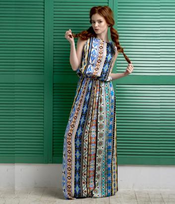Длинное платье EFFETTO 0114 с ярким принтом